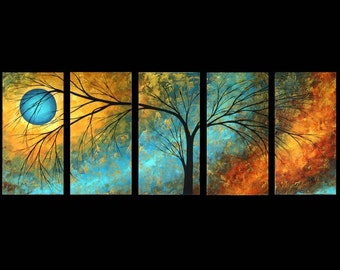 Modern Abstract Art Landscape Tree Artwork Black Silhouette Print Set in Gold and Turquoise by MADART  Set of 5 10x20s - Passing Beauty