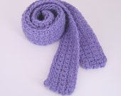 SALE - Lavender Wool Long and Thin Scarf