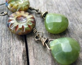 Organic Green Earrings Calsilica Gemstone Serpentine Wire Wrapped
