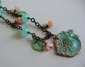 Blue Bird Necklace - Hand Painted Brass Green Verdigris Pendant, Blue Opals, and Pink Flowers
