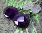 East Side Earrings - Amethyst, Frosted Bead and Sterling