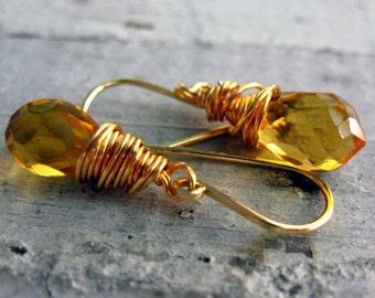 Citrine Gemstone Earrings,  Briolette Bead, Vermeil Gold Wire Wrapped, Golden Earrings, Dangle Drop Earrings, November Birthday