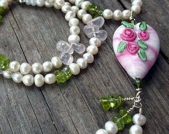 Floral Lampwork Valentine Day Necklace,  Hearts and Flowers Necklace, Peridot, Pearls, Rose Quartz and Sterling Silver