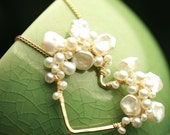 Freshwater Keshi Pearl Heart Necklace Wire Wrapped White Freshwater Valentine