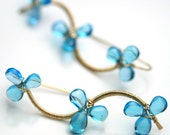 December Birthstone Flower Vine Earrings Swiss Blue Topaz Gold Fill Wire Wrapped