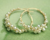 Gold Fill Pearl Hoops . Pearl Hoop Earrings