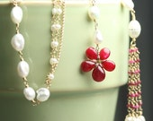 Reserved Flower Necklace Red Ruby Freshwater Pearl Lariat Gold Fill