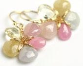 Sapphire Gemstone Flower Earrings by Fuss Jewelry