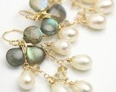 Labradorite and Pearl Chandelier Earrings