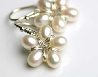 Pearl Flower Earrings Sterling Silver. Floral Jewelry.