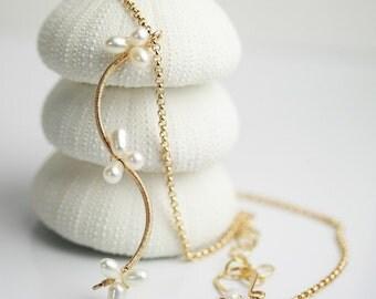 White Pearl Vine Necklace Wedding Necklace Bride