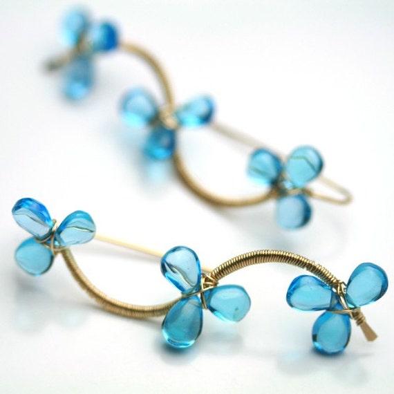 December Birthstone Flower Vine Earrings Swiss Blue Topaz Gold Fill Wire Wrapped