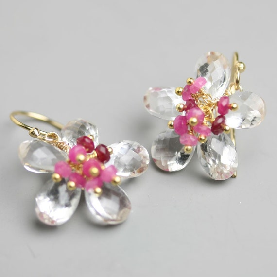 Flower Earrings in Clear Quartz with Ruby Clusters Wire Wrapped