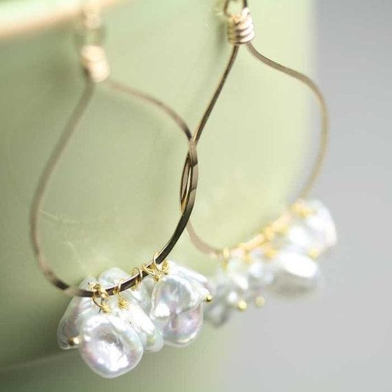 Pearl Earring Rounded Gold Fill Teardrop Keshi