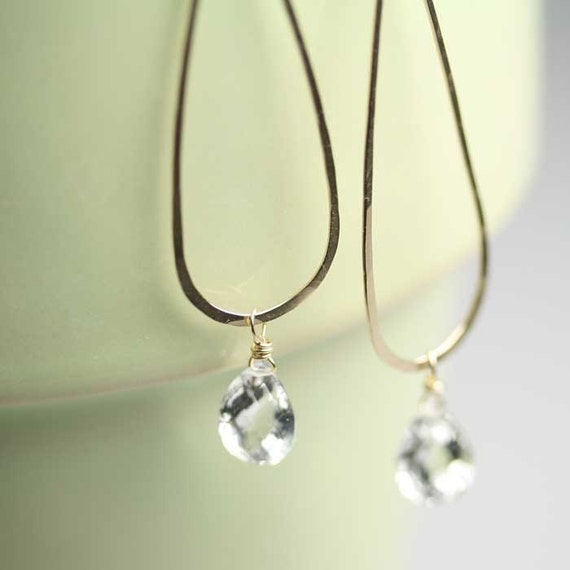 Long Drop Earrings with Rock Crystal Quartz Modern