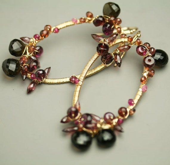 Reserved - Wire Wrapped Gemstone Earrings Red Garnet Smoky Quartz Gold Fill Oval Dangle Earring