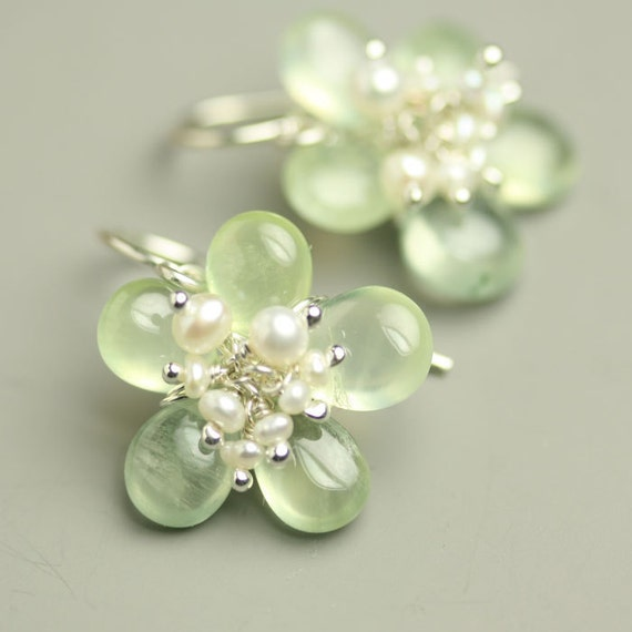Prehnite Flower Earrings Freshwater Pearl Cluster Center Sterling Silver