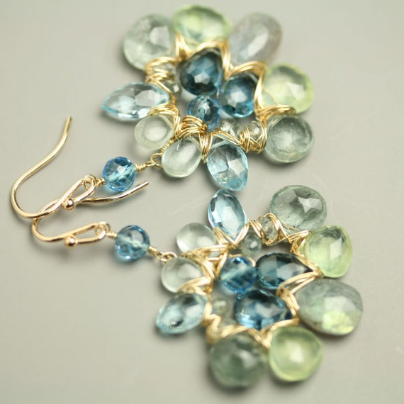 Statement Jewelry Wire Wrapped Earrings London Blue Topaz Labradorite Prehnite Aquamarine