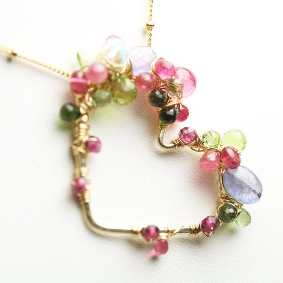 Gem Encrusted Heart Necklace Pink Tourmaline Tanzanite Peridot