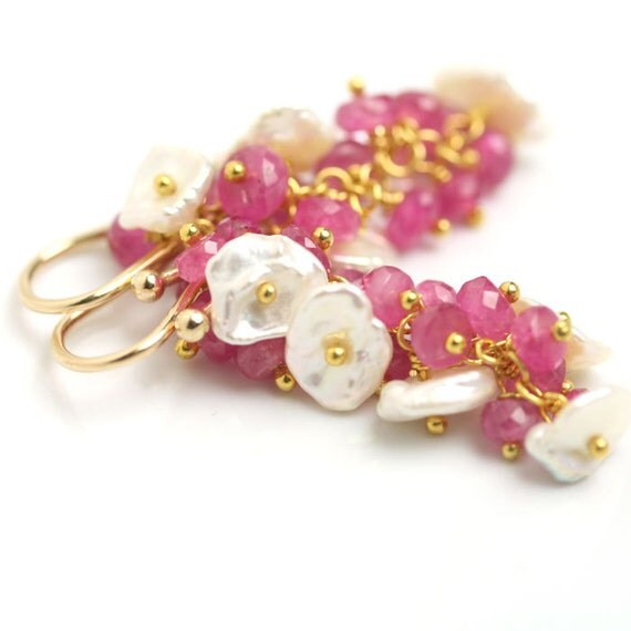 Pink Sapphire Dangle Cluster Earring Keshi Pearls Gold Fill