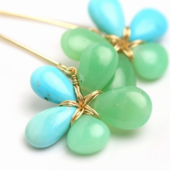 Turquoise and Chrysoprase Flower Earrings  Fuss Jewelry