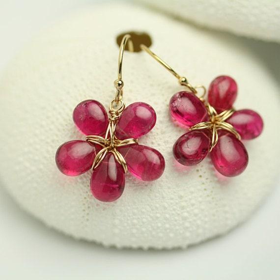 Intense Pink Tourmaline Flower Earrings by Fuss Jewelry