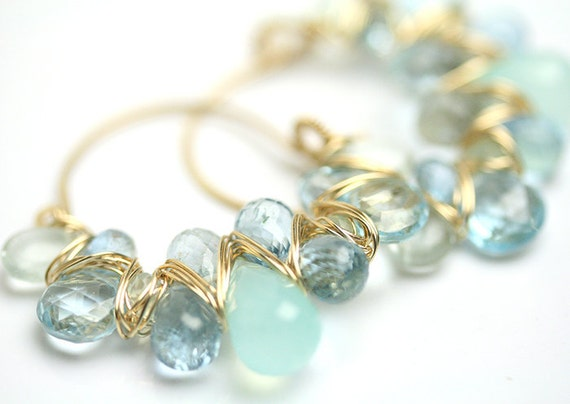 RESERVED Tropical Waters Gemstone Hoops a Fuss Jewelry Original Design