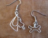 DOGGY and his BONE earrings wirewrapped