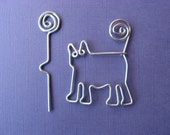 CAT SHAWL PIN for knitters wirework