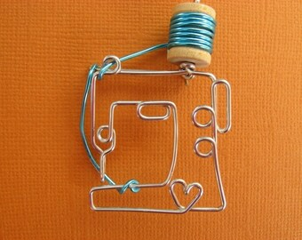 SEWING MACHINE BROOCH wire wrapped