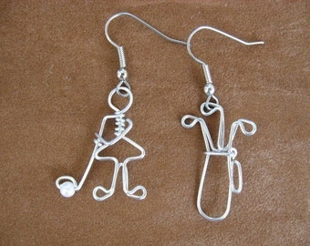 Golfing earrings wire wrapped hand made