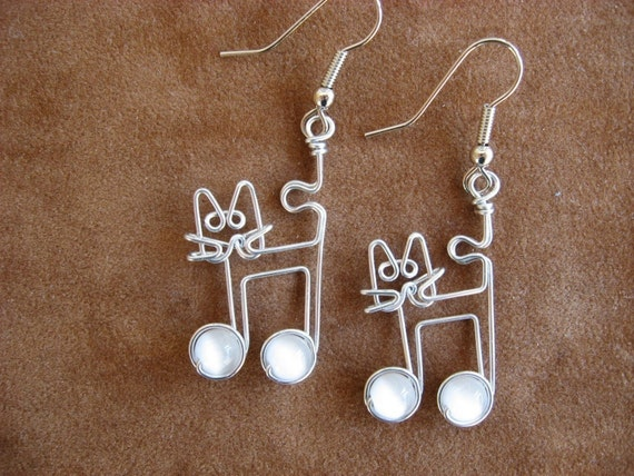 White CAT EARRINGS with music notes wire wrapped