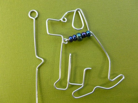 DOG SHAWL PIN wire wrapped