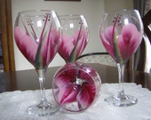 Wine Glasses/Goblets Hand painted Berry and Light Pink