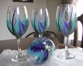 Wine glasses goblet Hand painted, Turquoise and  Purple