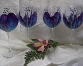 Wine glasses/goblets, Purple/TealHandpainted