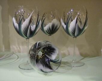 Hand painted Black wine glasses