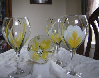 Wine Glasses goblets Large  Tear drop, yellow and white , hand painted.