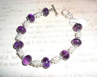 Amethyst and sterling bracelet