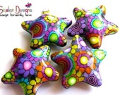 Disco Stars -2 Handmade polymer clay beads - fluffy stars  32mm