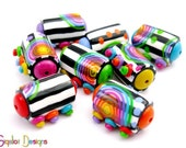 NEW DESIGN- Contrast - 8 Handmade polymer clay  beads - barrel