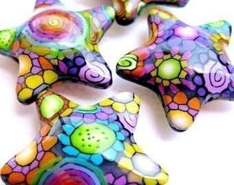 Disco Stars - 4 Fluffy Polymer Clay Stars 32mm