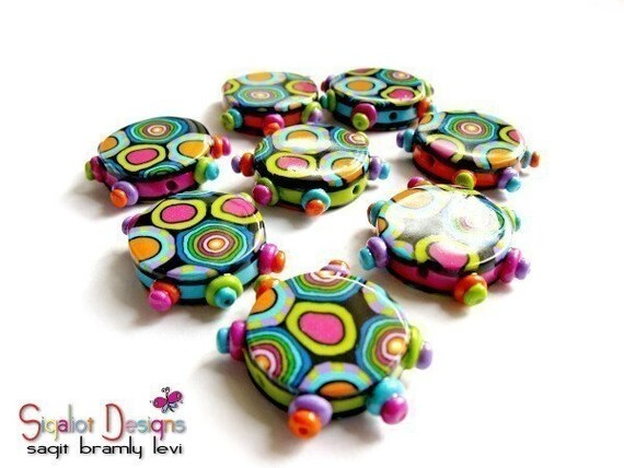Color Cells Spiders Addition- 4 polymer clay round flat beads - 20mm