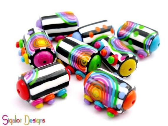 NEW DESIGN- Contrast - 8 Handmade polymer clay  beads - barrel