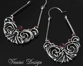RESERVED-Allure- Fine Silver and garnet earrings