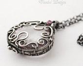 SALE-20% OFF - Allure- Fine/sterling silver,quartz and sapphire medallion necklace