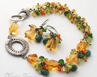 Summertime -Fine silver, Golden citrine, emerald, chrome diopside, peridot, carnelian, lemon quartz bracelet and earrings set