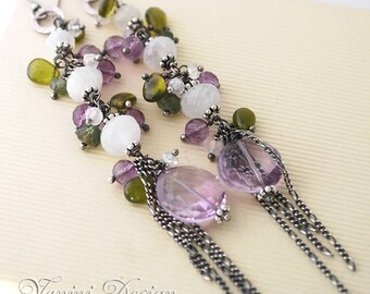 Spring tranquility- Fine/ Sterling silver, rainbow moonstone, Amethyst, Vesonite, green apatite long earrings