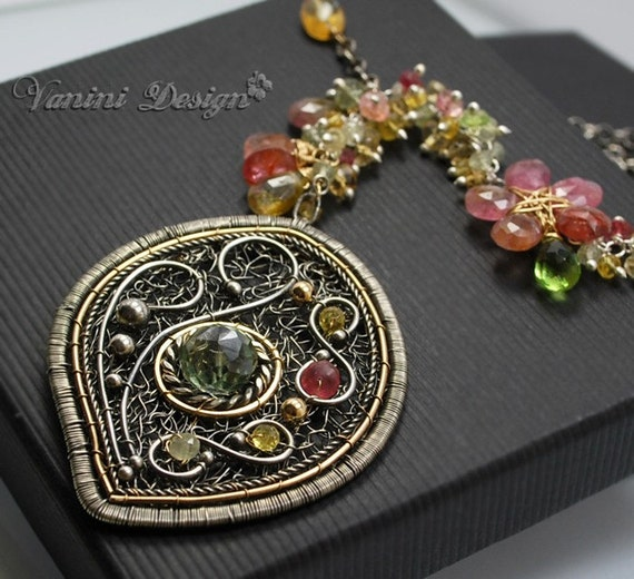 Sorbet-Fine999/sterling silver,14k Goldfill,Quartz,Tourmaline,Citrine,Sapphires,Green topaz,prehnite,red spinel,peridot Necklace