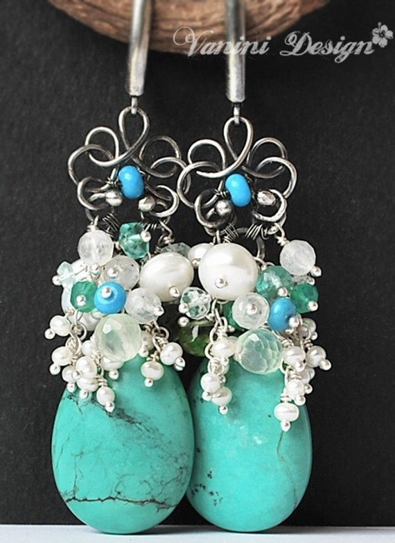 50 Percent OFF-Avalanche de perles-Turquoise,peridot,prehnite,apatite,pearls,Fine999 and sterling silver earrings
